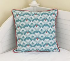 Duralee Bella Dura Aqua and Coral Designer Pillow Cover with Piping by SewSusieDesigns on Etsy