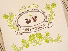 Letterpress Birthday Card  squirrel birthday by LuckyBeePress, $4.50