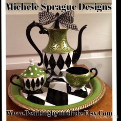 One of my favorite customers from California, sent me this tea set and asked me to paint it in a harlequin and apple green design. She has a