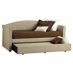 """Upholstered in tweed-inspired fabric and featuring a trundle bed for accommodating guests, this classic daybed adds understated style to your guest room or den.   Product: DaybedConstruction Material: Wood and tweed fabricColor: BeigeFeatures: Trundle is includedMade in the USA    Dimensions: 37""""  H x 87.75""""  W x 43.5""""  DNote: Assembly requiredMattress and linens are not included"""