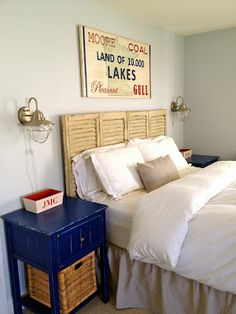 headboard made from upcycled shutters great decor overall