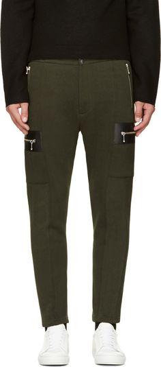 Cy Choi Olive Green & Black Leather Zip Trousers