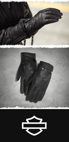 These classic riding gloves are styled from long-lasting cowhide leather. | Harley-Davidson Women's Skull Rivet Leather Gloves