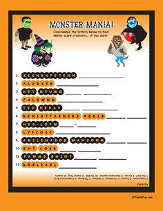 Monster Mania Word Scramble for Halloween