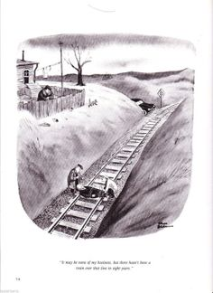Vintage CARTOON Chas ADDAMS Tying Man to Train by Tasteliberty, $22.00