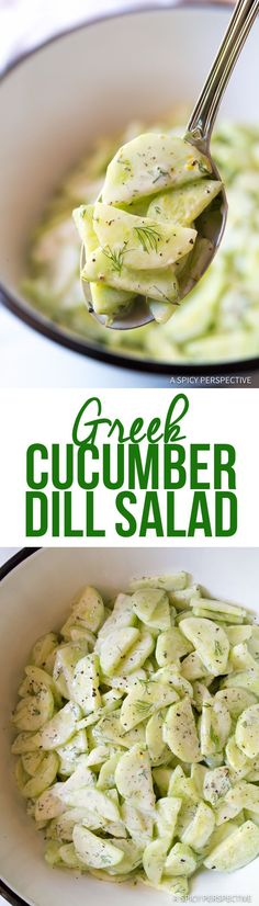 Greek Cucumber Dill Salad Greek Cucumber Dill Salad - A classic and refreshing blend of fresh garden cucumbers dill greek yogurt and lemon zest. Healthy and Healthy Side Dishes, Vegetable Side Dishes, Side Dish Recipes, Healthy Snacks, Healthy Eating, Dill Salad Recipe, Cucumber Dill Salad, Salad Recipes, Vegetarian Recipes