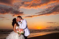 Gorgeous beach wedding at the DoubleTree Beach Resort! Clearwater Beach, Beach Resorts, West Coast, Sunsets, Florida, Weddings, Couple Photos, Beautiful, Couple Shots