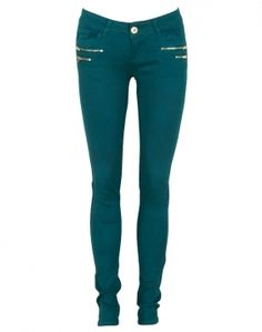 Teal Green Animal Print Zip Detail Skinny Trousers #Chiarafashion