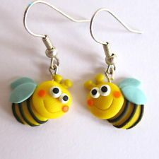 Fimo Clay Girls Children Bee Bug Dangle Earrings Spring Easter Jewelry gift idea