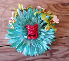 Teal Cherry Tiki Hair Flower Clip-Tropical Pinup by LilaJo on Etsy (Accessories, Hair, Clip, accessories, hair clip, tiki hair flower, tiki, tropical, odd rodney, pinup, rockabilly, easter island, hawaiian party, summer, teal, viva las vegas)