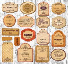 18 Printable Vintage Frames clipart set of labels by GreatClipArt