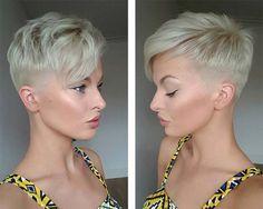 zwei Seiten ein Undercut Frisur für blonde Haare buntes Kleid, schöne Schminke