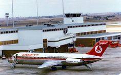 Ansett Douglas DC-9-31 VH-CZH parked next to the terminal at Melbourne-Tullamarine, circa 1970s.
