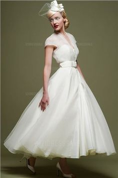 A-Line/Princess High Neck Ankle-length Organza Wedding Dress
