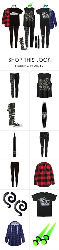 """""""mcR :'))))"""" by gracethehumans ❤ liked on Polyvore featuring Converse, River Island, WearAll and Mikey"""