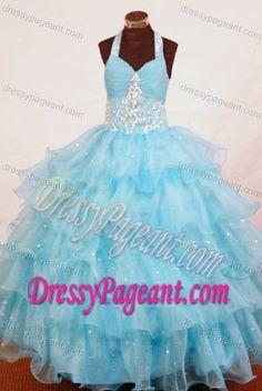 Halter Top Aqua Blue Organza Attractive Girl Pageant Dress with Appliques