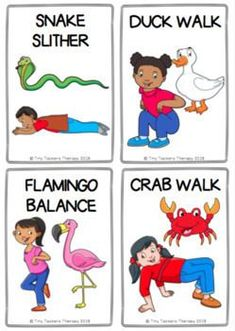 Animal Walks Movement Cards - Brain Breaks, Self-Regulation, Sensory Break Physical Activities For Kids, Animal Activities For Kids, Movement Activities, Gross Motor Activities, Physical Education Games, Toddler Activities, Preschool Activities, Health Education, Music Activities