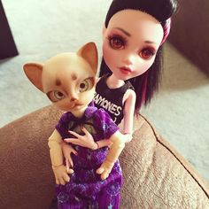 Mom can I keep her??   #adorbs #dollstagram #hujoo #anthrodoll #ooakdoll #monsterhigh #monsterhighrepaint #ooakmonsterhigh #mhcollector #mattel #draculaura #repainteddoll #bjd #rockprincess #dollphotography by estrie.thirston