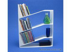 Ultra Modern Bookshelf by modernminifan on Shapeways Unique Bookshelves, Modern Bookshelf, Bookshelf Design, Architectural Scale, Modern Dollhouse, Dollhouse Ideas, Miniature Furniture, Vintage Furniture, Dollhouse Miniatures