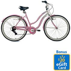 "$109 Walmart.com: Susan G. Komen Multi-Speed 26"" Women's Cruiser Bike & Bonus eGift Card"