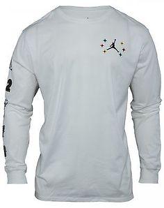 Nike Jordan Championship Long Sleeve T-Shirt Mens 806533-100 White Tee Size S