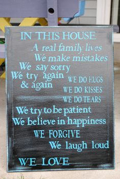 This will definitely be hanging on my wall when I have my own house.  Canvas Wall Quotes In This House by DesignsbyJillian on Etsy