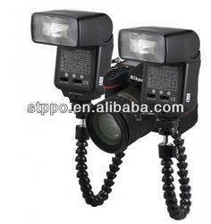 Double 2 Cold Shoe Marco Flexible Flash Bracket Mount Holder For Canon Nikon CameraSpeedlite