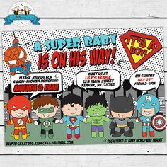 PRINTABLE Pop Art Superhero Baby Shower Cute by LilFacesPrintables, $14.95