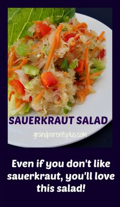 Don't like sauerkraut? Neither do I, but when I reluctantly tried this Sauerkraut Salad I couldn't believe how good it tasted! Great for picnics as there is no mayo in it. Sauerkraut Salad Recipe, Sauerkraut Recipes, Cabbage Recipes, Vegetable Salad, Vegetable Dishes, Vegetable Recipes, Healthy Salads, Healthy Recipes, Healthy Food