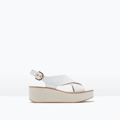 CROSSOVER LEATHER WEDGES / zara