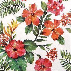 4x Paper Napkins for Party, Decoupage Craft Hawaiian Floral