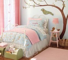 Mesmerizing Bedroom Wall Décor Ideas Idea- Blue wall with reds and white in girl's bedroom. I like the curtains in red or possibly coral. Bedroom Wall, Girls Bedroom, Bedroom Decor, Design Bedroom, Tree Bedroom, Girls Daybed, Bedding Decor, Bedroom Night, Bedroom Furniture