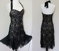 BETSEY JOHNSON BLK NUDE ILLUSION CROCHET LACE KNIT WIGGLE COCKTAIL PARTY DRESS S
