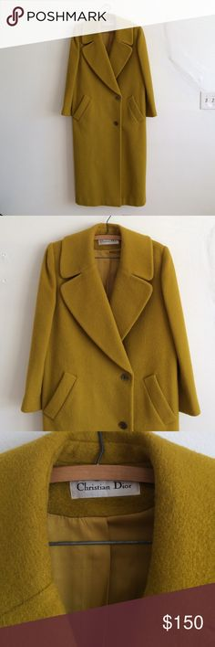 "Christian Dior mustard long coat Authentic Christian Dior designer coat. Shift style tailoring, mustard yellow wool / poly blend fabric, long length. Double-breasted, back vent . Fully lined , size 8. Very warm! Up to 41"" chest , length from shoulder to bottom, 50"" great condition! No holes , or stains Christian Dior Jackets & Coats Pea Coats"