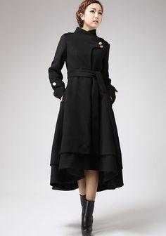 Black wool coat long winter dress coat with layered by xiaolizi, $249.00