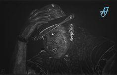 #AJ_ #Autorretrato con #lápiz de #color #blanco sobre #papel #pastel #negro de un tamaño mayor al A3.  #benalmadena #malaga #arte #pintura @AmparoJurado85 #docente2.0 #aj_informa