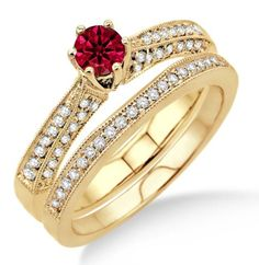 2 Carat Ruby & Diamond Antique Bridal Set Engagement Ring on 10k Yellow Gold. If you are looking for a Ruby gemstone engagement ring set at affordable prices then look no further than this beautiful Ruby and diamond wedding engagement ring. This ring can be customized to 10k 14k or 18k gold.| Price: $849.00 USD on Shygems | Price: $849.00 USD on Shygems