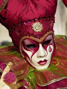 Jester in purple.  Venice Carnival 2013 by Lesley McGibbon
