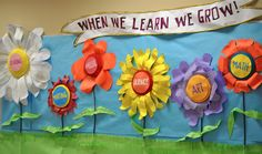 Welcome Back To School Bulletin Boards Ideas | When we learn we grow! — Fun with Flowers at School.