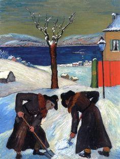 Marianne von Werefkin (Russian-German, 1860 - 1938) Snow Overnight (Schnee über Nacht), 1918 58.6 x 45.3 cmvia ymutate