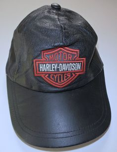 Harley Davidson Black Leather Baseball Hat Adjustable EUC Bar  amp  Shield  One Size  HarleyDavidson a53c1ff9306