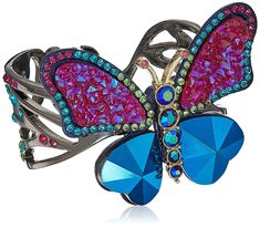 Betsey Johnson Butterfly Colorful Butterfly Cuff Bracelet Items that are handmade may vary in size, shape and color hematite butterfly cuff featuring multi color and multi-faceted stones, and two blue metallic hearts as wings Betsey Johnson, Colorful Bracelets, Turquoise Bracelet, Cuff Bracelets, Butterfly, Handmade, Stuff To Buy, Jewelry, Image Link