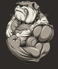 Angry Dog Bodybuilder by Vector illustration of a strongbulldog with big biceps. Vector graphics Install any size without loss of quality. ZIP archive co Bulldogge Tattoo, Posters Geek, Dog Illustration, Dog Tattoos, The Villain, T Rex, Cartoon Art, Comic Art, Art Drawings