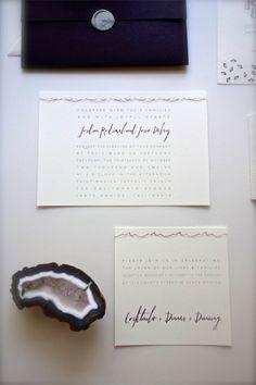 Simple blue #invitations | Photography: Phoebe Joy Photography - www.phoebejoyphotography.com | Read more - http://www.stylemepretty.com/little-black-book-blog/2014/01/16/traditional-santa-monica-ballroom-wedding/