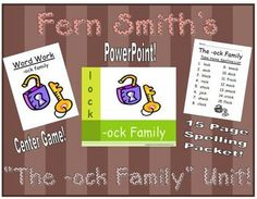 Fern Smith's The -ock Family Packet ~ PowerPoint, Center Game & Spelling Bundle! Adorable Lock Theme! This packet contains a PowerPoint, Center Game & Spelling Unit!