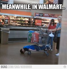 This is only funny because Brody did this JUST LAST WEEK at Walmart and some lady freaked out on me...dude, the cart isn't moving...