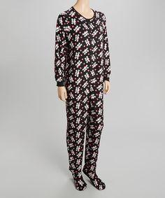 Another great find on #zulily! Black Skull Footie Pajamas - Women #zulilyfinds