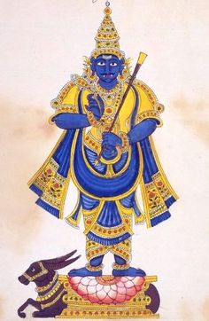 Lord Yama - the god of death, also the god of justice/righteousness and is sometimes referred to as Dharma, in reference to his unswerving dedication to maintaining order & adherence to harmony. It is said that he is also one of the wisest of the devas. He's the birth father of Yudhistira.