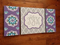large colorful nursery art - personalized- hand painted- Inspired by Brooklyn bedding- purple aqua  floral paisley