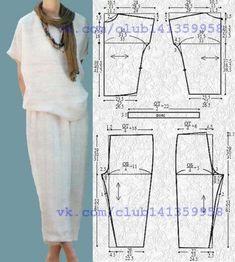Брючный комплект в стиле бохо - блуза свободного кроя и укороченные брюки на резинке. Выкройка на размеры 40/42, 44, 46/48 (рос.).  #простыевыкройки #простыевещи #шитье #бохо #брюки #блузка #блуза #выкройка